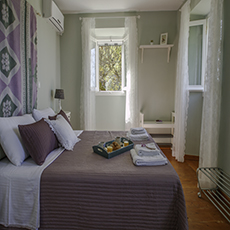 the purple double bedroom on the first floor